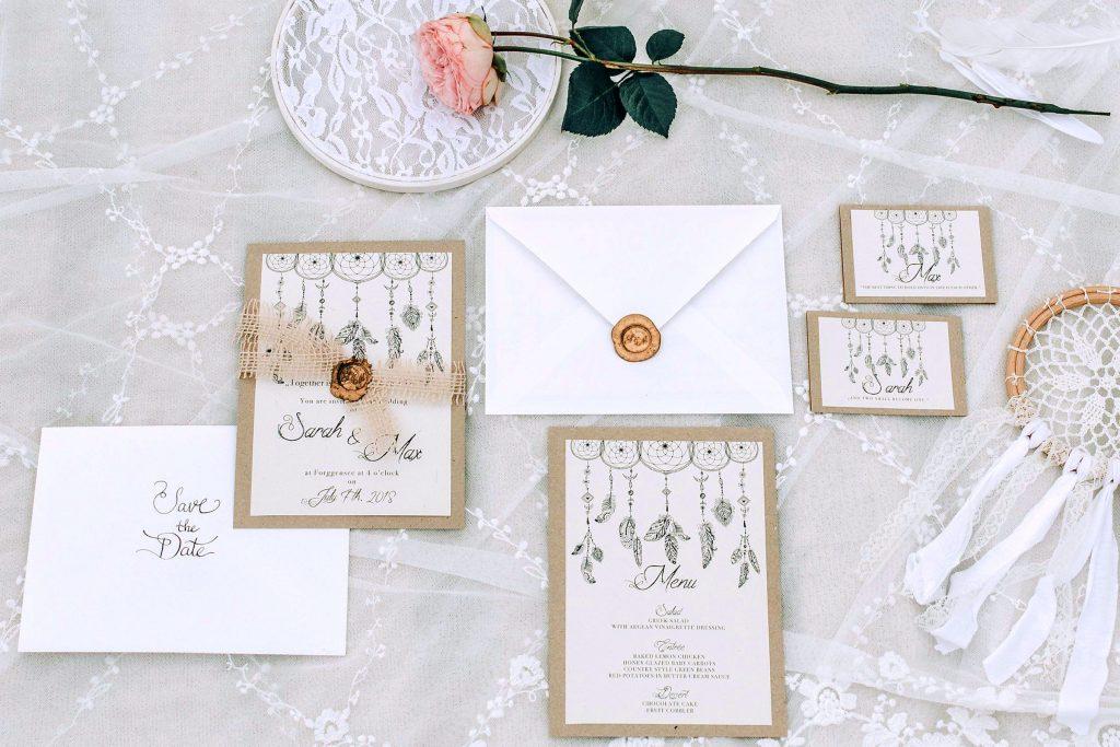 Boho Bohemian Hochzeitskarten Hochzeitspapeterie Traumfänger Illustrationen Siegelwachs Hochzeit individuell Vintage