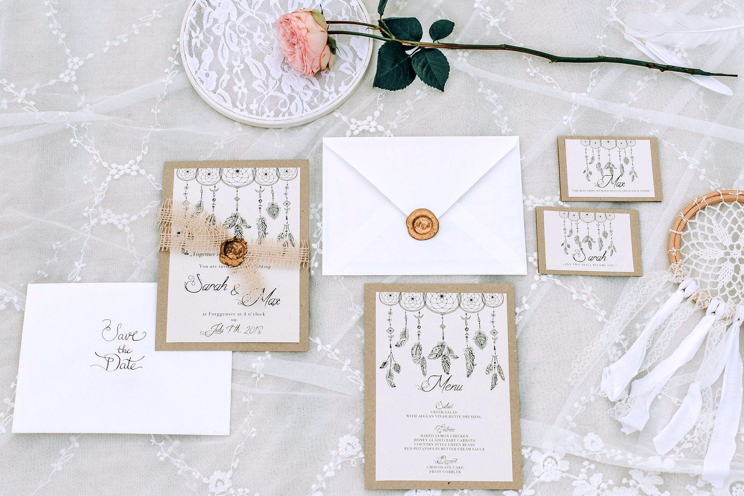 Hochzeitseinladungen Im Boho Stil Hochzeitspapeterie Von Hannah