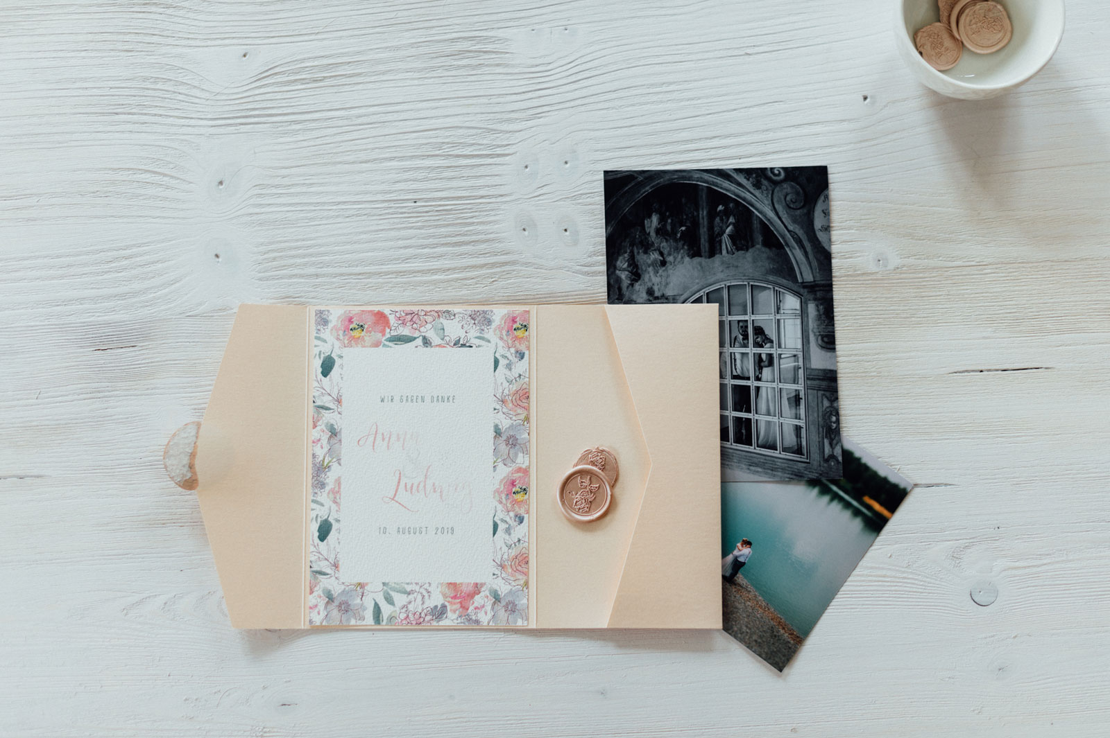 Frühling Blumen Dankeskarten Hochzeitskarten Hochzeitspapeterie Wachs Siegel Wiesenblumen Wasserfarben Aquarell Danksagungskarte Individuell Hochzeitsmotto Jahreszeiten