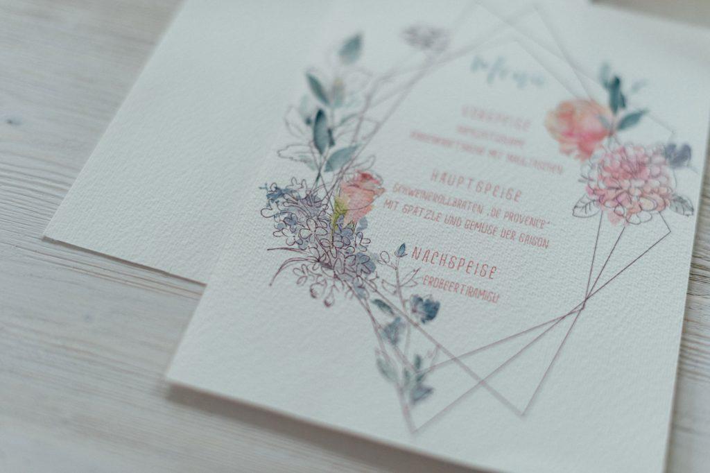Frühling Blumen Menükarten Speisekarten Hochzeitskarten Hochzeitspapeterie Wachs Siegel Wiesenblumen Wasserfarben Aquarell Danksagungskarte Individuell Hochzeitsmotto Jahreszeiten