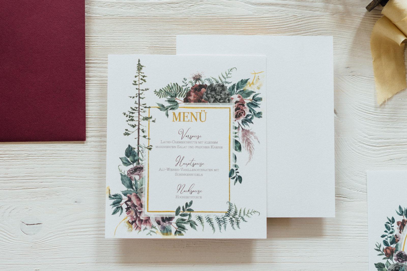 Herbst Menükarten Hochzeitskarten Hochzeitspapeterie Burgund Wald Hirsch Hochzeitsmotto Wald Natur