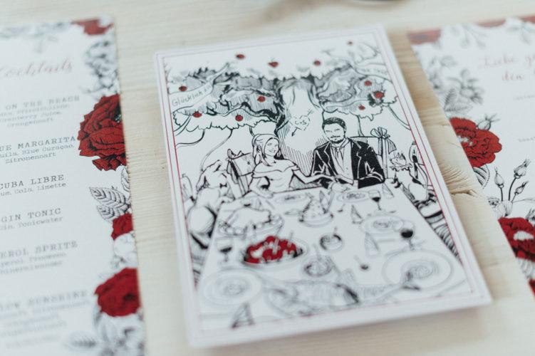 Schneewittchen Speisekarten Menükarten Hochzeitskarten Hochzeitspapeterie Illustrationen Hochzeitsmotto Märchen Disney Alice im Wunderland Zelda