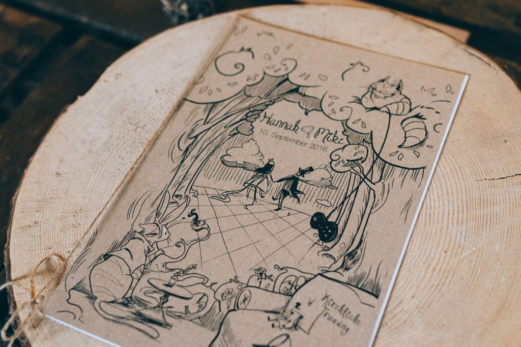 Alice im Wunderland Kirchenheft Hochzeitskarten Hochzeitspapeterie Handgemalte Illustrationen Märchen Hochzeit Schneewittchen Hochzeitskarten Individuell Vintage Hochzeitsmotto Disney