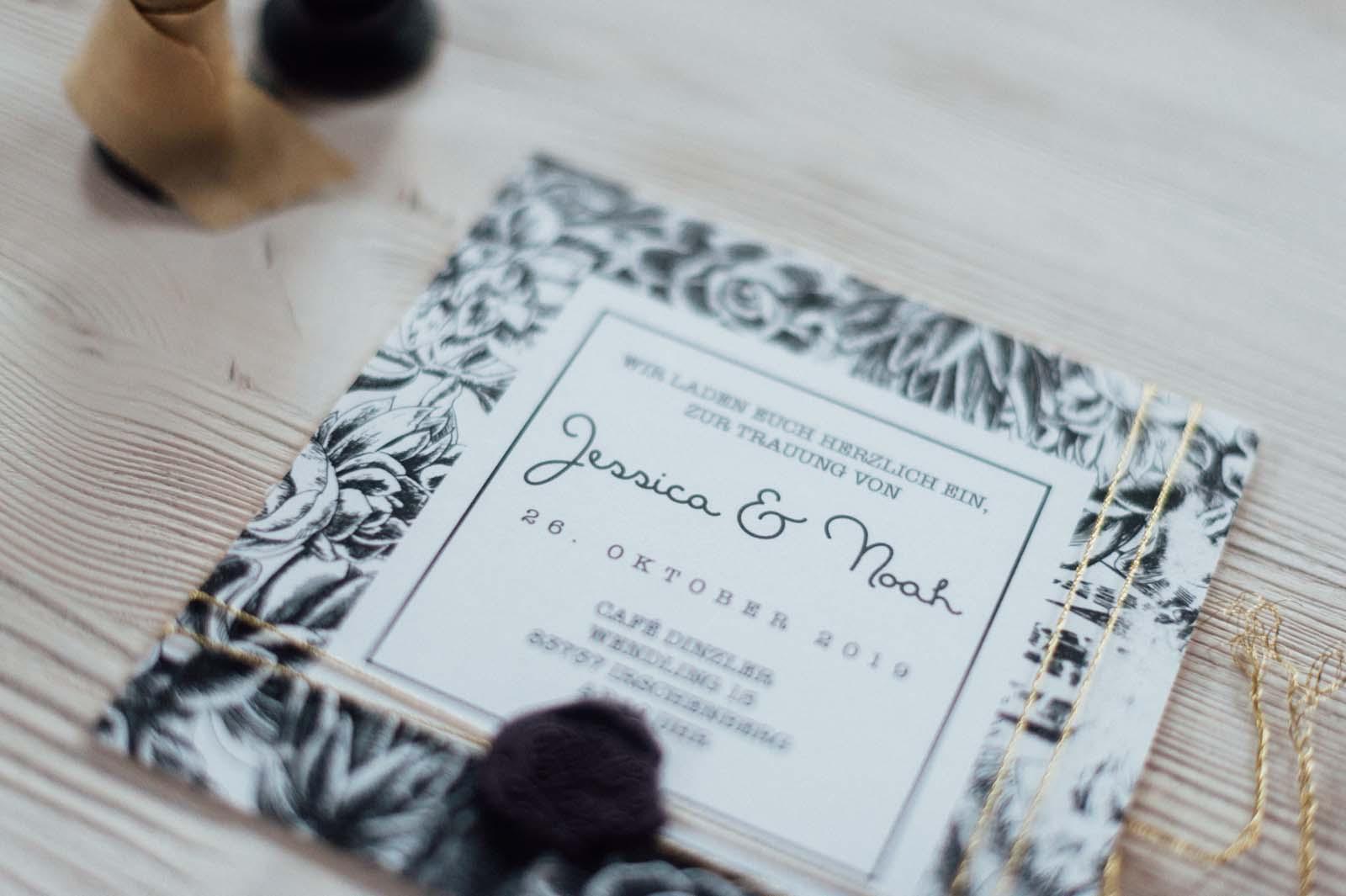 Hochzeitseinladung edgy sukkulenten floral blumen herbst winter siegelwachs seidenband hochzeitspapeterie hochzeitskarten