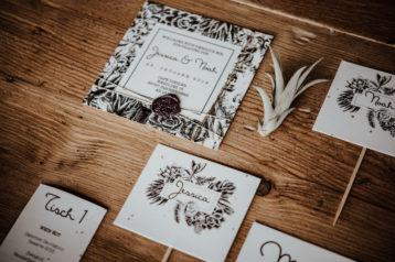 Hochzeitseinladung Vintage Hochzeitskarten Sukkulenten Hochzeitseinladungen Siegelwachs Menükarten Menü Platzkarten Tischkarten Edgy rock Greenery Boho Bohemian Gold rock n roll
