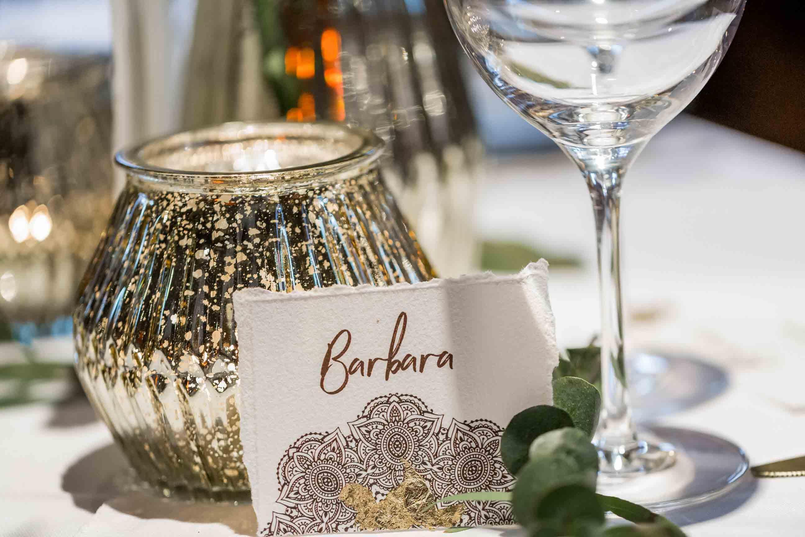 Boho Hochzeitskarten Bohemian Mandala Platzkarte Namenskarte Gold Winterhochzeit Hochzeitseinladung Tischdeko braun Blattgold rustikal Büttenpapier gerissener Rand