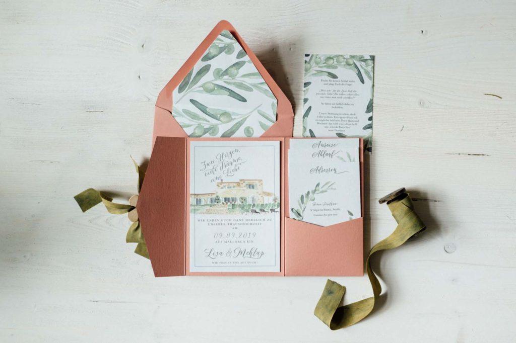 Finca Haus Aquarell Heiraten im Ausland Destination Wedding Hochzeitseinladungen Hochzeitskarten Hochzeitspapeterie Handgemalt