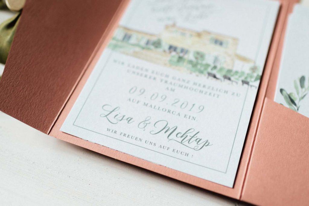 Finca Haus Aquarell Heiraten im Ausland Destination Wedding Hochzeitseinladungen Hochzeitskarten Hochzeitspapeterie Handgemalt Kalligrafie