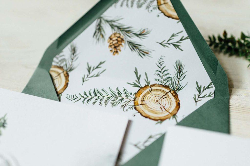 Grün Natur Tiere Baum Tannenzapfen Zweige Reh Greenery Hochzeitseinladung Hochzeitskarten Hochzeitspapeterie Naturhochzeit Aquarell