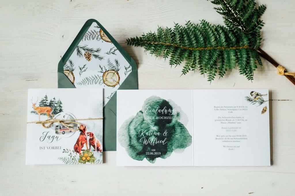 Natur Tiere Greenery Hochzeitseinladung Hochzeitskarten Hochzeitspapeterie Naturhochzeit