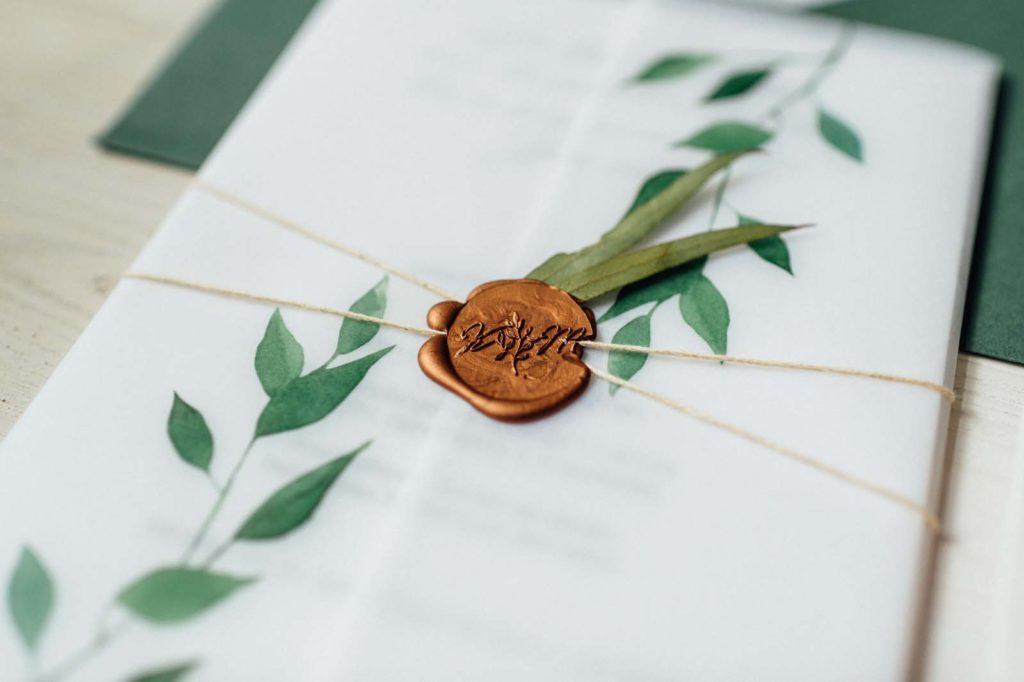 Wachssiegel Eucalyptus Greenery Naturhochzeit Aquarell Grün Natur Hochzeitseinladung Hochzeitskarten Hochzeitspapeterie Letterpress