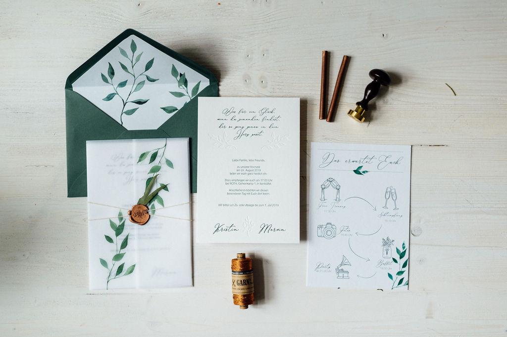 Natur Hochzeitseinladung Greenery Eucalyptus Naturhochzeit Aquarell Grün Hochzeitskarten Hochzeitspapeterie