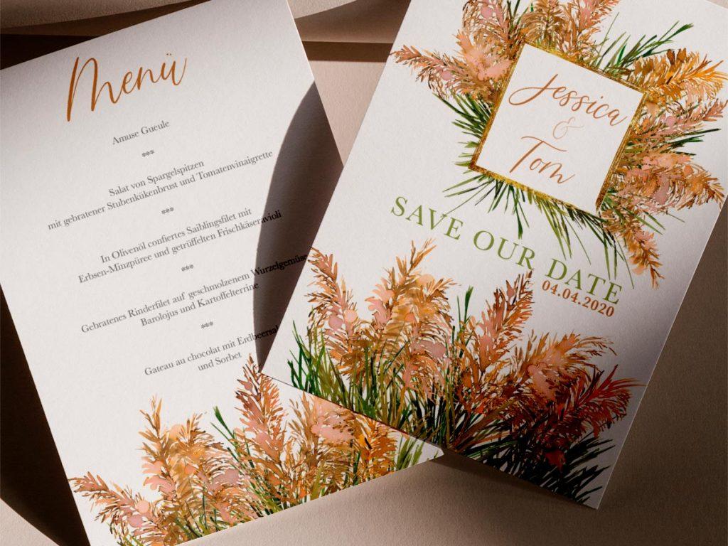 Save the Date Karte Menükarte Einladung Hochzeit Pampasgras Individuelle Hochzeitspapeterie