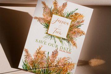 Save the Date Karte Hochzeit Pampasgras Individuelle Hochzeitspapeterie
