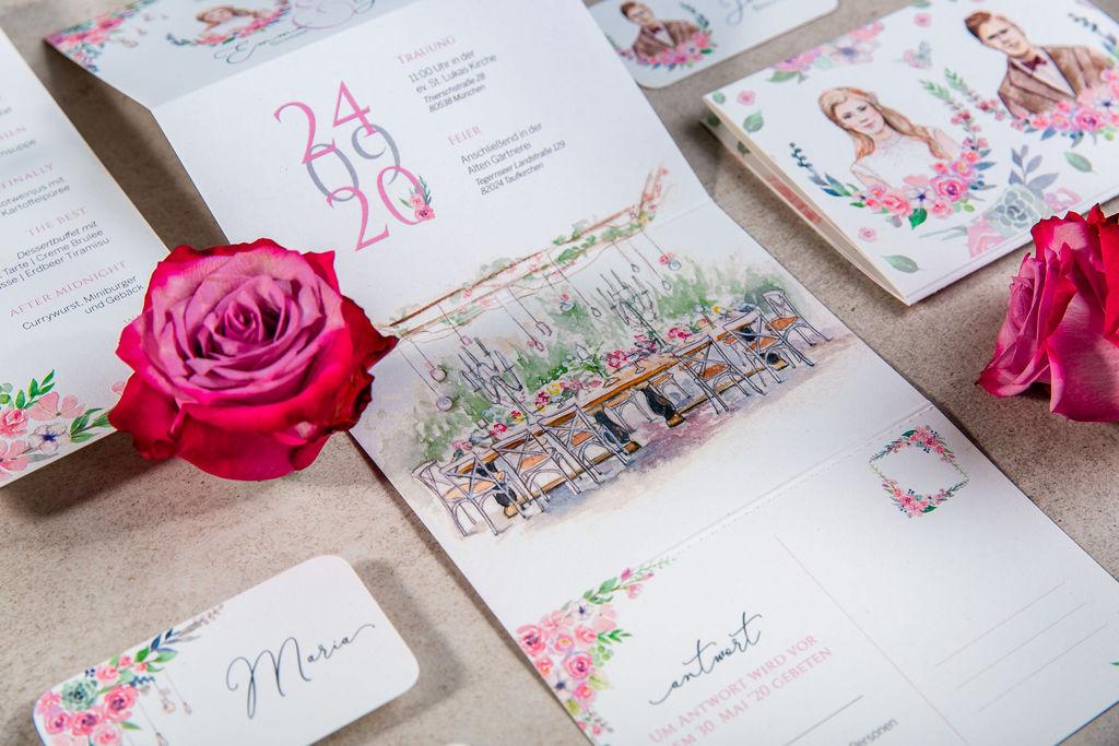 Individuelle Hochzeitspapeterie Hochzeitseinladungen Hannah Antenna Alte Gärtnerei Taufkirchen Illustration Handgemalt Gezeichnet Aquarell Kunst Illustrator