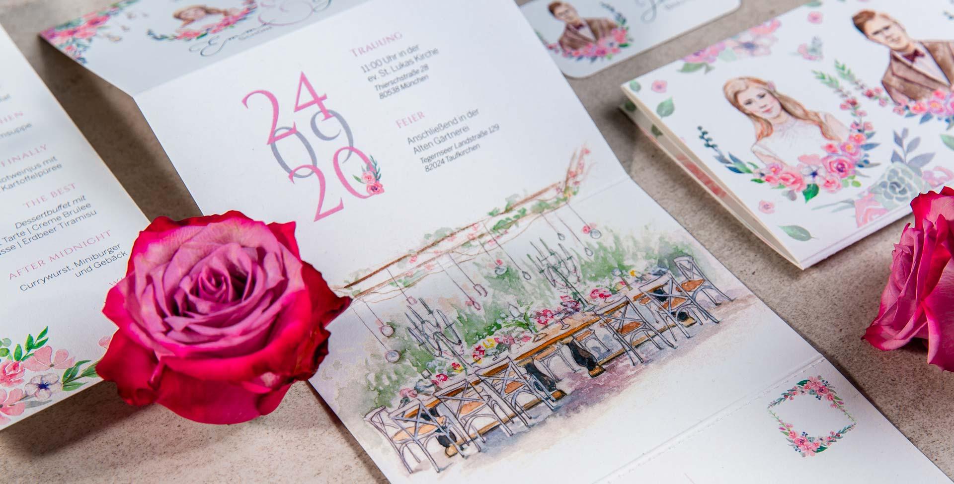 Individuelle Hochzeitspapeterie Hochzeitseinladungen Hannah Antenna Alte Gärtnerei Taufkirchen Illustration Hnadgemalt Gezeichnet Aquarell Kunst Illustrator