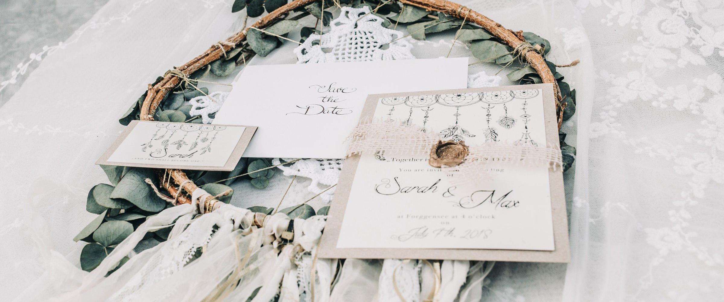 Bohemian Hochzeit Traumfänger Save the Date Namensschilder Menükarte Siegel Wachs