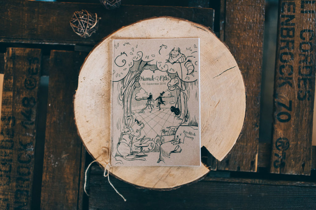 Kirchenheft Kirche Trauung Heft Hochzeit Kraftpapier Do it yourself Vintage Alice im Wunderland