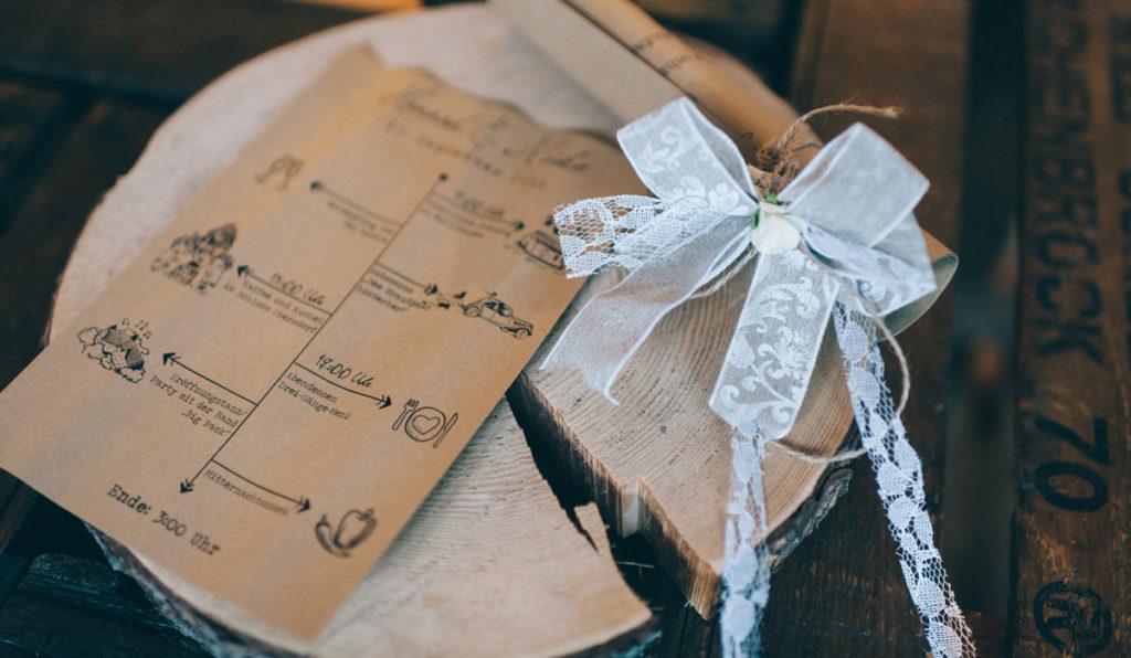 Ablaufplan Tagesablauf Hochzeit Kraftpapier Vintage Autoschleife Do it yourself Alice im Wunderland