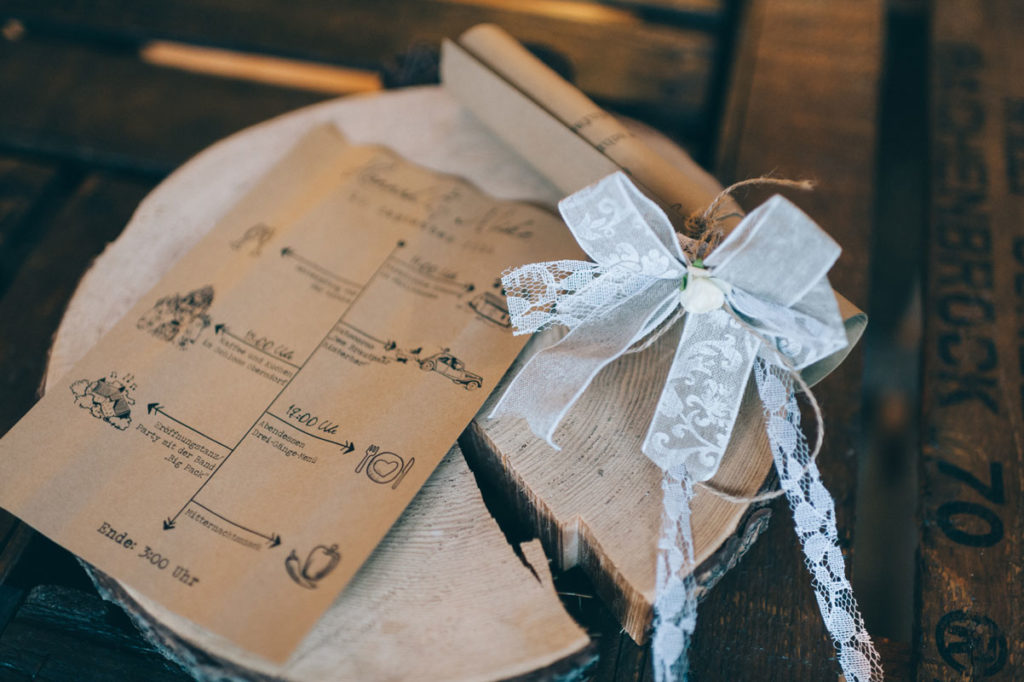 Save the Date Karten Hochzeit Tagesablauf Hochzeit Kraftpapier Vintage Autoschleife Do it yourself Alice im Wunderland
